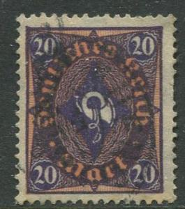 GERMANY. -Scott 182- Definitives -1921- Used - Wmk 126 - Single 20m Stamp