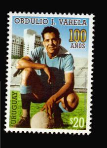URUGUAY 2017 SOCCER 100 ANIV OF 1950 WORLD CUP CAPTAIN OBDULIO VARELA MNH STAMP