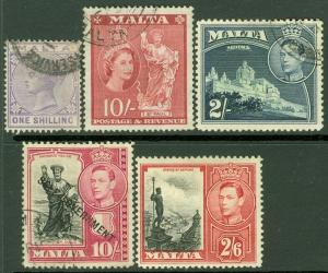EDW1949SELL : MALTA VF collection of 4 Used & 1 Mint Better values. Catalog $69.