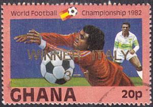 Ghana # 826 used ~ 20p Soccer, overprint