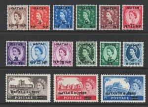 Qatar 1957 Queen Elizabeth II Surcharges Scott # 1 - 15 MH