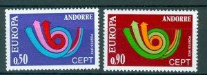 ANDORRA FRENCH EUROPA 1973 #219-220 SET MNH...$20.00