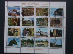 UMM AL QIWAIN- AFRICAN WILD ANIMALS CTO MINI SHEET, VERY FINE