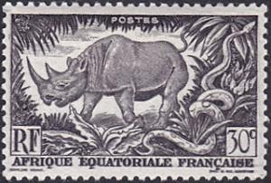 French Equatorial Africa # 167 hinged ~ 30¢ Black Rhino and Rock Python