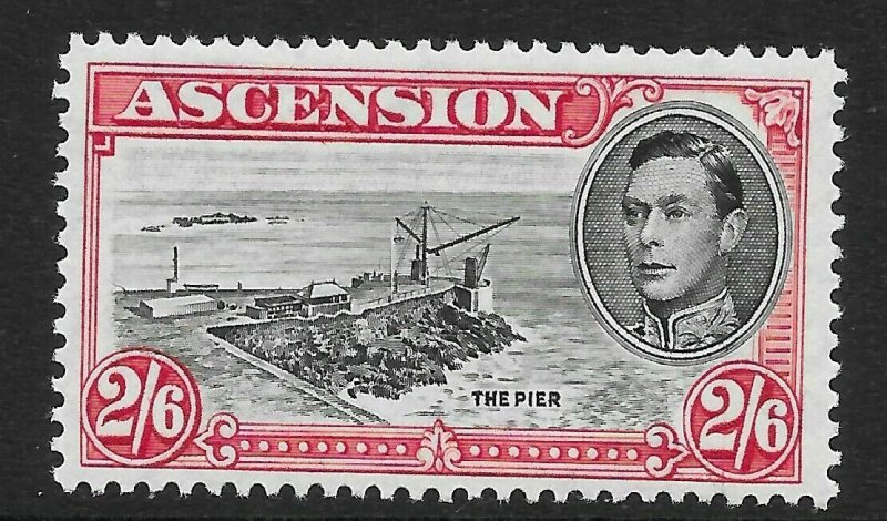 ASCENSION SG45ca 1944 2/6 BLACK & DEEP CARMINE p13 DAVIT FLAW MTD MINT