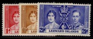 LEEWARD ISLANDS GVI SG92-94, CORONATION set, M MINT.