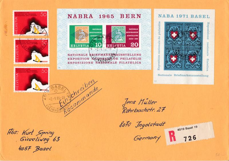 Switzerland 1986 Large Cover with Nabra Bern & Naba Basle Souvenir Sheets Regis.