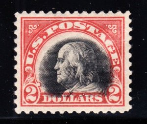 US 523 $2 Franklin Mint VF-XF OG LH w/ Interesting Vignette Shift SCV $525