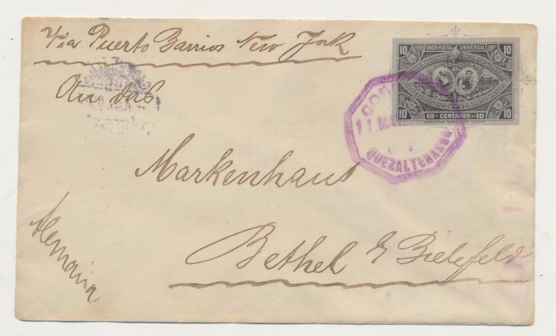 GUATEMALA TO GERMANY 1897 COVER, 10c RATE, VIA PUERTO BARRIOS & NEW YORK
