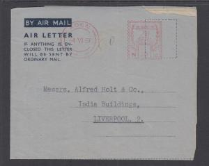 Aden, 1957 50c Fancy Red Meter on Aerogramme to Liverpool, England