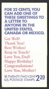 USA Sc# BK155 MNH Booklet 1987 22¢