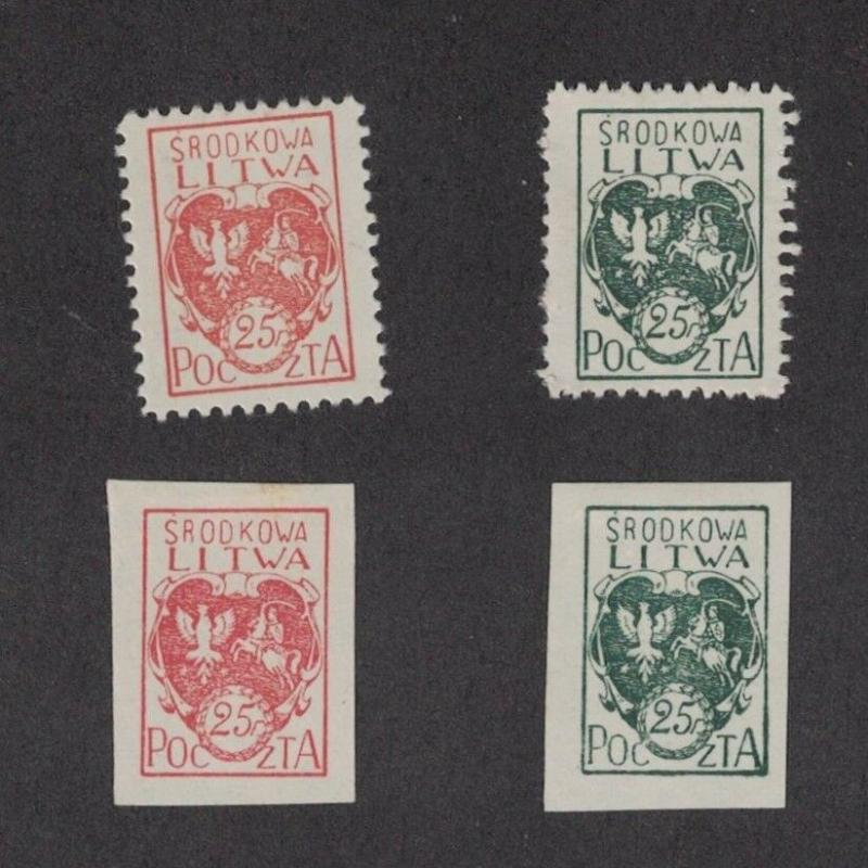 Central Lithuania 1 - 2 - Mint Hinged. Original Gum + Imperfs.   #02 LITH1