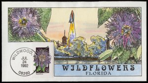 Collins Handpainted FDC Wildflowers: Florida Passionflower, Shuttle (7/24/1992)