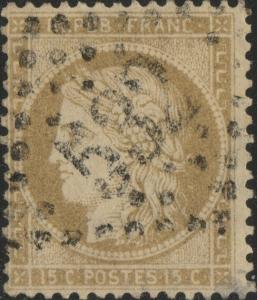 FRANCE - Yv.59 15c bistre (petits chiffres) - obl. GC 532 (Bordeaux) - TB
