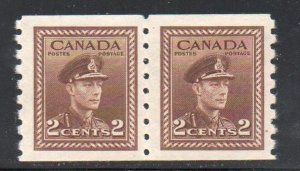 Canada Sc  264 1942 2 c G VI war issue coil stamp pair mint NH