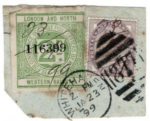 (I.B) London & North Western Railway : Letter Stamp 2d (Whitehaven Postal)