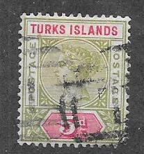 Turks Islands #57 5p Queen Victoria (U) CV$27.50