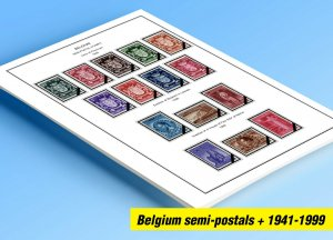 COLOR PRINTED BELGIUM SEMI-POSTALS+ 1941-1999 STAMP ALBUM PAGES (130 ill. pages)