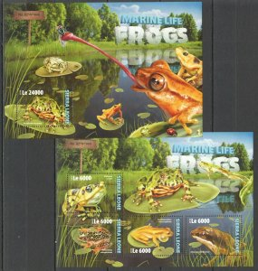 ST304 2016 SIERRA LEONE REPTILES FAUNA MARINE LIFE FROGS KB+BL MNH STAMPS