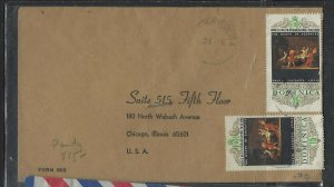 DOMINICA COVER (P2304B) 1969  ART, PAINTINGS 15CX2  COVER TO USA