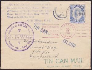 TONGA 1936 Tin Can Mail cover - SS Monowai..................................5341