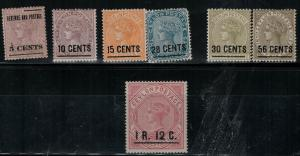 Ceylon 124-130 Mint 1885-1887 SCV$ 282.00 Set