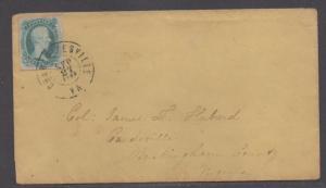 **CSA Cover, SC# 9, Charlottesville, VA, 9/27/1863, Ten Cents Col. Hubard