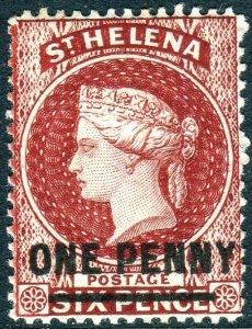 ST HELENA-1880 1d Lake Perf 14 Sg 27 MOUNTED MINT V42724