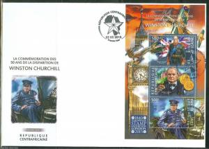 CENTRAL AFRICA 50th MEMORIAL ANNIVERSARY OF WINSTON CHURCHILL SHEET  FDC