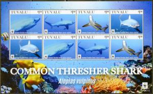 TUVALU  2016 COMMON  THRESHER SHARK WWF  SHEET OF EIGHT  MINT NH