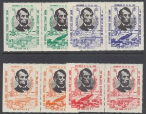 US MNH. 1960 ASDA Labels, Abe Lincoln, perforated horizontal pairs, complete set