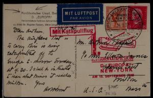 Germany Catapult card 15.9.30 Europa-NY /