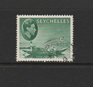 Seychelles 1938 6c Green Def, RETOUCH UNDER ELLE, FU