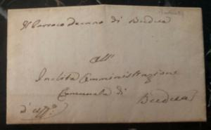 1839 Budva Montenegro Letter Sheet Stampless Cover Domestic Used