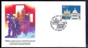 UNITED STATES FDC 50c Switzerland 1991 Fleetwood