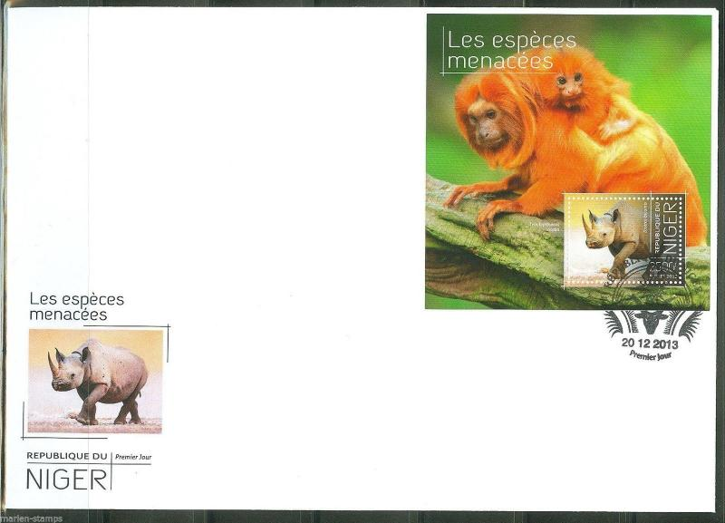 NIGER  2013 ENDANGERED SPECIES SOUVENIR SHEET FIRST DAY COVER