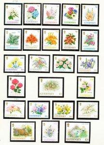 GUERNSEY - # 476-497 & 584-585 - VF MNH -  flowers -1992-1997