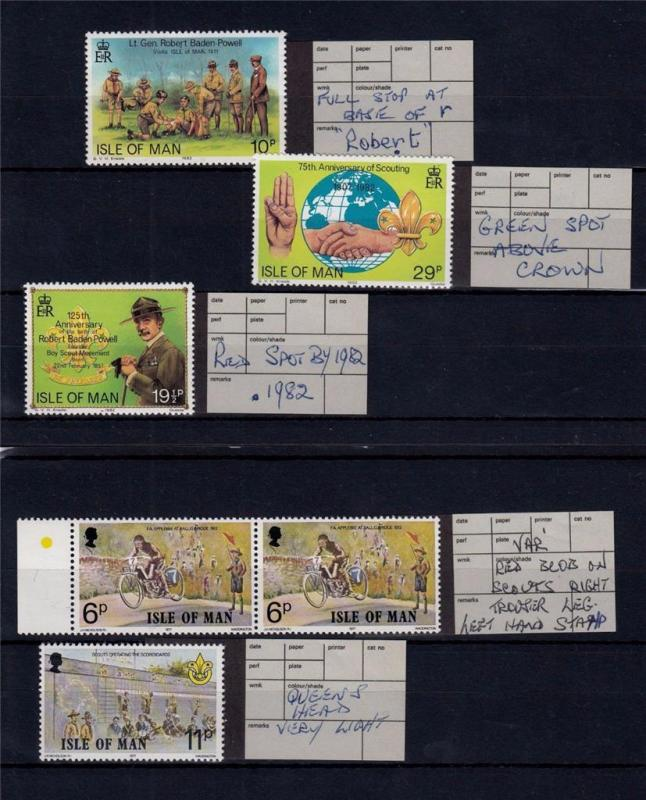 Isle of Man 1977 & 1982 MNH SCOUTS & Cyclist Incl ERRORS (6 Stamps) #A2380