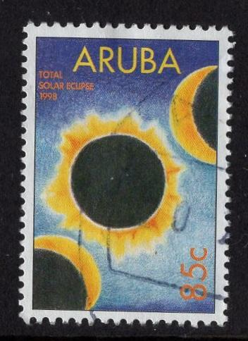 Aruba   #160   used  1998 total solar eclipse  85c