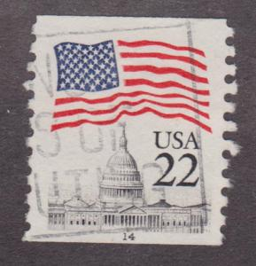 US #2115 Flag over Capitol Used PNC Single plate #14   Block Tag