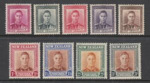 New Zealand Sc 260-268 MLH. 1947 KGVI definitives, missing low value o/w cplt