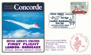 Cover UK Great Britain Concorde 1962 First Flight Bordeaux G-BOAA Captain Cook