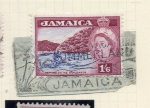 Jamaica 1956 Early Issue Fine Used 1S.6d. Postmark Piece 283899