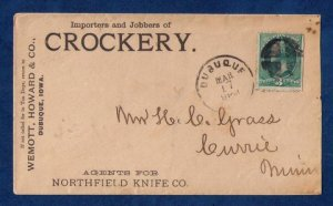 US Sc 207 Postal Advertising History Cover Cancelled Dubuque Iowa (1883):