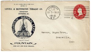 1910 Covington, KY cancel on ad cover for Fountain Natural Leaf tobacco