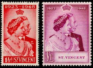 ST. VINCENT SG162-163, COMPLETE SET, NH MINT. Cat £27. RSW.