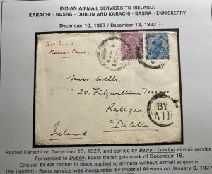 1927 Karachi India Early Airmail Service Cover To Dublin Ireland Via Basra Cairo