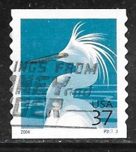 USA 3829A: 37c Snowy Egret, plate no single, #P33333, VF, Used