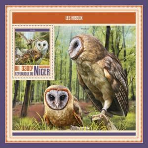 NIGER - 2017 - Owls - Perf Souv Sheet - MNH