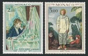 Monaco 815-816,MNH.Michel 1031-1032. Berthe Morisot,Jean Antoine Watteau,1972.